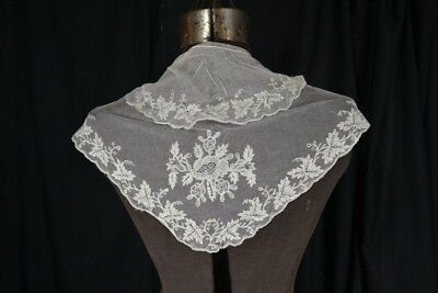 antique fichu collar net lace early hand made tambour white 19th c original vg