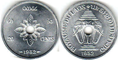Laos 1952 Uncirculated Coin Pair, 20 & 50 Cents, Free Us Shipping