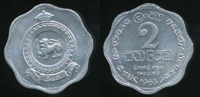 Ceylon 1963 Uncirculated 2 Cents, Free Us Shipping