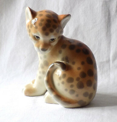 Vintage Ussr Russian Leopard Cub Porcelain. Earlier Lfz Mark To The Base.