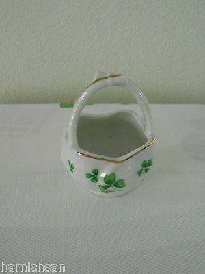 Vintage Lefton Shamrock St Patrick's Day Irish Jewelry Candy Round Basket