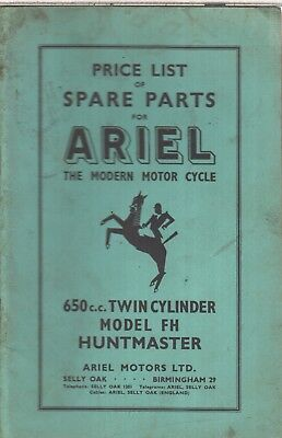 ARIEL 650cc MODEL FH HUNTMASTER ORIG. 1956 FACTORY ILLUSTRATED PARTS CATALOGUE