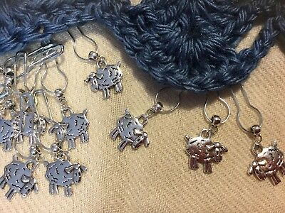 12-Stitch Markers, Sewing,Knitting,Crochet,Quilting. Tibetan Silver, FREE charm