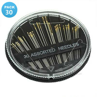 Assorted Hand Sewing NEEDLES - Embroidery Mending Craft Quilt Case Sew 30pcs Kj