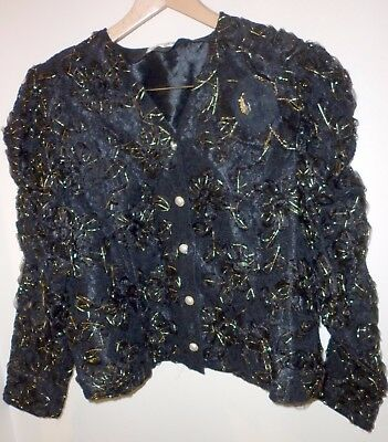 Vintage Japanese Ribbon Lace Evening Jacket Size 16 Excellent Condition