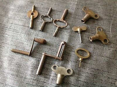 Good Selection of Carriage Mantel Crank Antique Clock Keys