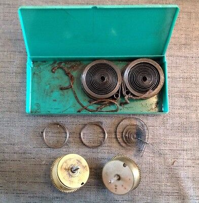Antique Clock Mainsprings And Cogs Clockmakers Selection From spare Parts Chest