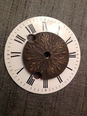 Antique  Clock Enamel Dial Solid Brass Center 88mm