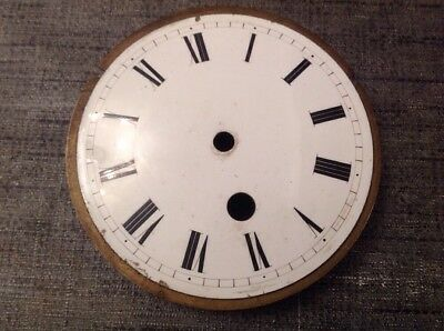 Antique  Clock Enamel Dial 100mm Solid Brass Back 108mm Diameter
