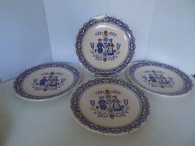 (Set of 4) Johnson Brothers Old Granite Hearts & Flowers 10'' Dinner Plate