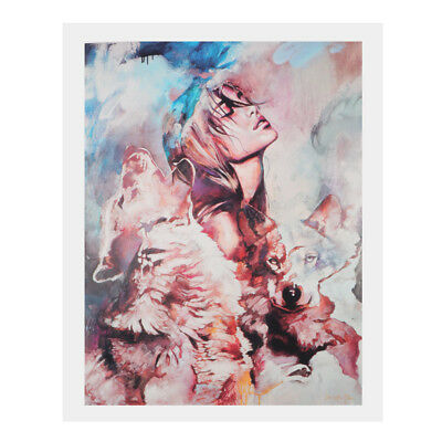 1 Panel Canvas Print Oil Painting Wall Artwork Home Chic Decor Girl & Wolf