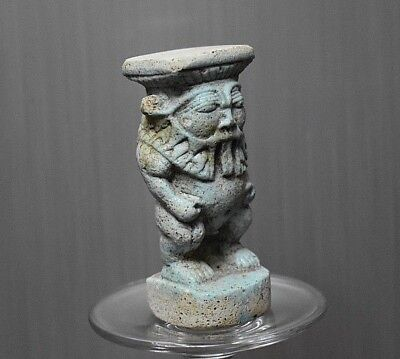 ANCIENT ANTIQUE Egyptian Blue Faience  BES  statue  (1500–300 BC)