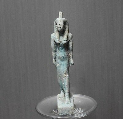 ANCIENT ANTIQUE Egyptian Blue Faience  QUEEN statue  (1500–300 BC)