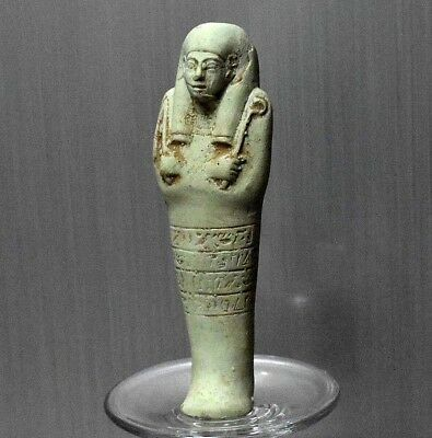 ANCIENT ANTIQUE Egyptian Blue Faience  USHABTI statue  (1500–300 BC)