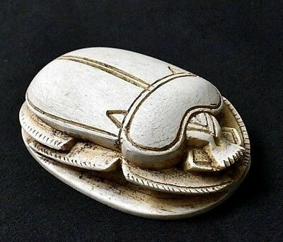 ANCIENT ANTIQUE Egyptian Large white SCARAB  (1500–300 BC)