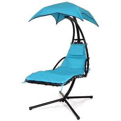 Hanging Chaise Lounger Chair Stand Air Porch Arc Swing Hammock With Canopy NEW