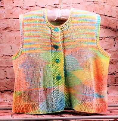 Vintage Vest Sweater Multi Color Acrylic Cardigan Button Down Girls Size 3/4