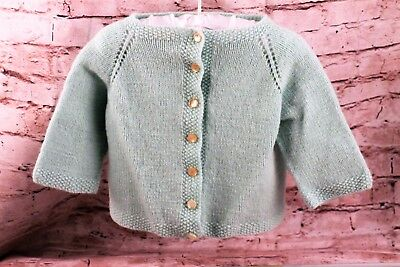 Vintage Sweater Green Acrylic Cardigan Button Down Girls Size 2/3