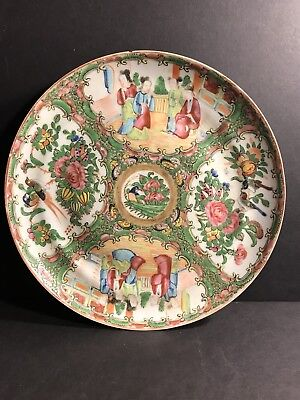 An Antique Chinese Qing Republic Famille Rose Medaillon Porcelain Plate/ Charger