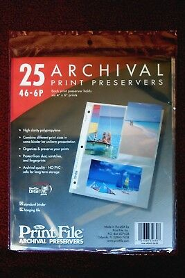 Print File 46-6P  4x6 Archival Print Preservers  One package of  (25) pages