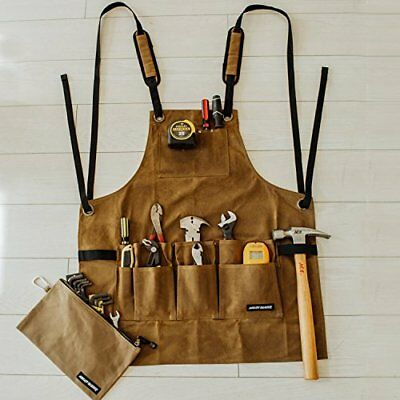 Work Shop Apron by Angry Beaver | BONUS Canvas Zipper Tool Pouch | Heavy Duty Ut