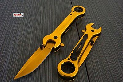 "NEW 7.5"" Rainbow Wrench Tactical SPRING ASSISTED Open FOLDING POCKET KNIFE Multi"