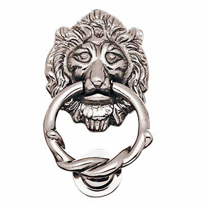 Lion Head Door Knocker Chrome Cast Brass 6 1/4 inches High X 3 5/8 inches Wide