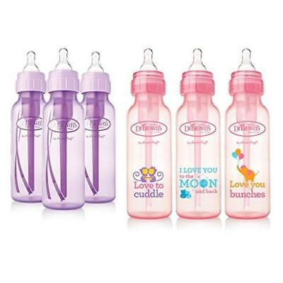 Dr. Browns Baby Bottles Girls 6 Pack 3 (8 Oz) Lavender & 3 (8 Oz) Pink Bottles