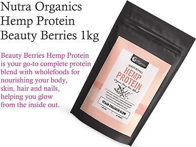NUTRA ORGANICS Hemp Protein Beauty Berries 1kg ( Vegan Collagen Glow )