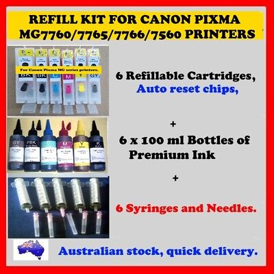Cartridge refill kit for Canon MG7560/7760/7765/7766 printers