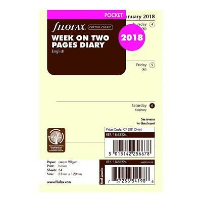 Filofax C68224 2018 Week to View Refill, January December, Pocket Size:...