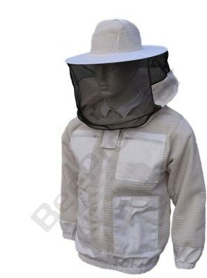 White Beekeeping 3 Layer Ultra Ventilated beekeeping jacket Round veil@2XL-10