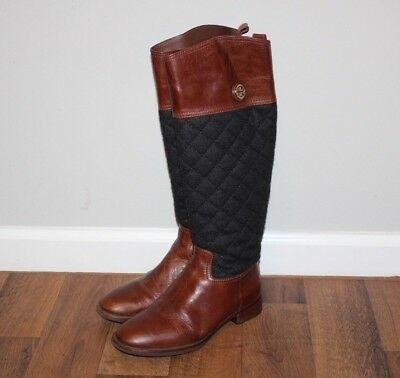4fdb72c79d2 TORY BURCH WOMENS 6.5 Rosalie Riding Boots Zip Brown Leather Black Quilted  Shaft -  220.96