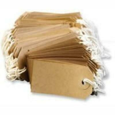 200 MED Brown/Buff (Manilla) Strung 96x48mm Tag/Tie On Luggage Craft Labels 3