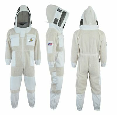 White Beekeeping 3 Layer beekeeping full suit ventilated Astronaut veil-Small-06
