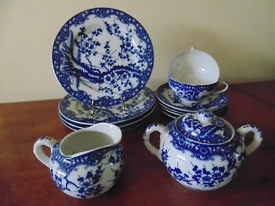 Antiques Beautiful Tea Set 13 Pc Old Blue Cherry Nippon Porcelain  Japanese Circ