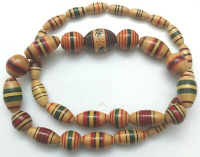 African Hand Painted Wooded Bead Necklace