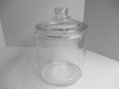 Vintage Clear Glass Jar & Lid, Drug Store Canister Apothecary Candy Pickles Nuts
