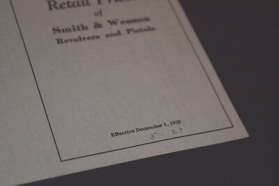 Rare 1925 Smith & Wesson Firearms Co. Price List
