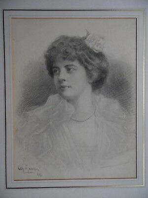 Belle Epoque Portrait of Young Woman 1909 Willy Malherbe French/American Listed