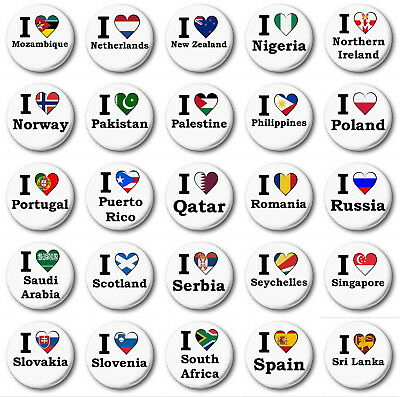 """1/"""" inch Button Badge N to S WORLD FLAGS Various 25mm"""