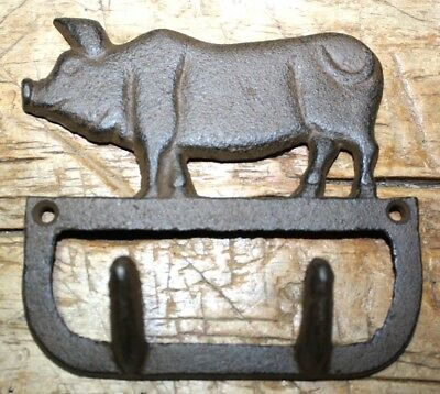 Cast Iron Antique Style PIG Coat Hooks Hat Hook Rack Towel HOG PIGGY
