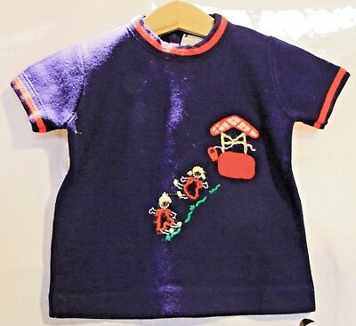 Vintage 1950s Little World Blue Short Sleeve Boys Sweater Jack Jill