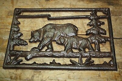 Cast Iron BEAR Plaque BEARS Sign Home Garden Wall Decor Stepping Stone Man Cave
