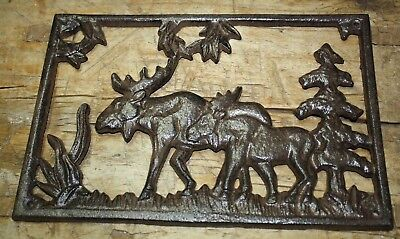 Cast Iron MOOSE Plaque Sign DEER Home Garden Wall Decor Stepping Stone
