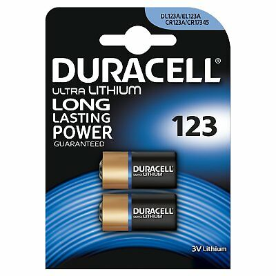 2 X Duracell Ultra CR123 3V Lithium Photo Battery DL123A/CR17345 Expiry 2027