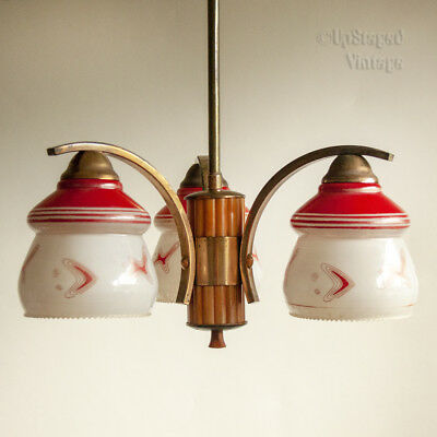 Vintage 1930s/50s 20th Century Atomic 3-Arm Red Casein Ceiling Light FREE UK P&P
