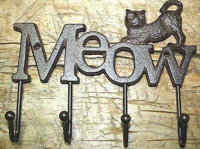 Cast Iron CAT Towel Coat Hooks, Hat Hook, Key Rack GARDEN KITTEN MEOW
