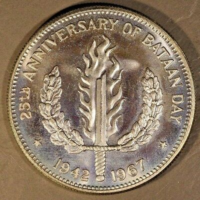 1967 Philippines Dual Date Silver Peso 25th Bataan Day   ** FREE U.S. SHIPPING**