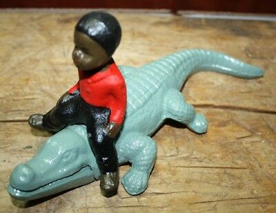 Cast Iron Antique Style Black Boy Riding Alligator Southern Americana Gator